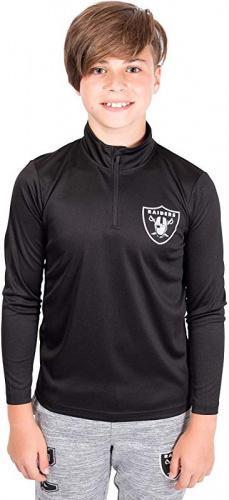 Ultra Game NFL Minnesota Vikings Boys Quarter Zip Pullover Athletic Quick Dry Long Sleeve Tee Shirt Purple 10-12