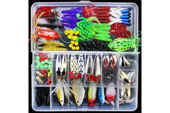 (141pcs) - BrilliantDay Artificial Fishing Lure Kits Soft Lure Set Mixed Universal Assorted Fishing Baits Kit for Saltwater and Freshwater With Tackle Box