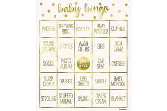 (Bingo Game) - Unique Party 73410 - Gold Baby Shower Bingo Game for 8
