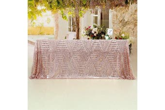 (150cm  x 260cm , Rose Gold Diamond-A+) - B-COOL Geometric Pattern Sequin Tablecloth 150cm X 260cm Luxury Rose Gold Table Overlay for Gatsby Wedding Art Decor Cake Table Party