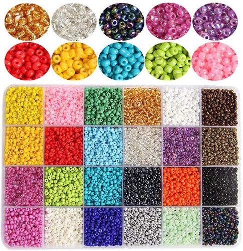 4800Pcs 8//0 Glass Pony Seed Beads Kit 200Pcs Per Color Gacuyi 24Colors 3mm Small Craft Beads for DIY Bracelet Necklace Crafting Jewelry Making Supply with 2Pcs 0.8mm Elastic String and Tweezers