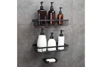 (Black Square 2 Tier) - GERUIKE Adhesive Shower Caddy Bathroom Organiser Kitchen Spice Rack Wall Mounted Drill-Free Bathroom Shower Shelf Storage Kitchen Rack