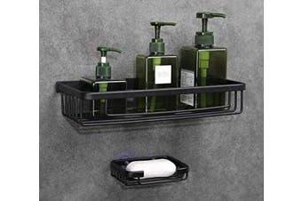 (Black Square 1 Tier) - GERUIKE Bathroom Shower Caddy No Drill Shower Shelf Organiser Storage Basket Wall Mounted Kitchen