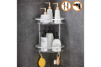 (Silver) - GERUIKE Bathroom Shower Shelf Shower Caddy, Nail-Free, No Damage, Self Adhesive, Space Aluminium, for Kitchen Bathroom, Silver