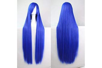 Womens Ladies Girls 100cm Dark Blue Colour Long Straight Wigs High Quality Hair Carve Cosplay Costume Anime Party Bangs Full Sexy Wigs