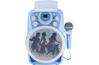 Frozen 2 Bluetooth CDG Karaoke Machine with LED Disco Party Lights, Built in Microphone for Kids, Portable Bluetooth Speaker, Avc, CDG Discs, Compatible with Samsung Apple Tablets MP3 & TV