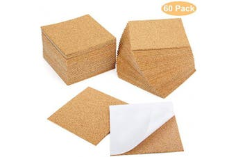 "(4"" x 10cm  Square(60 pcs)) - Blisstime 60 Pcs Self-Adhesive Cork Sheets 10cm x 10cm for DIY Coasters, Cork Board Squares, Cork Tiles, Cork Mat, Mini Wall Cork Board with Strong Adhesive-Backed"