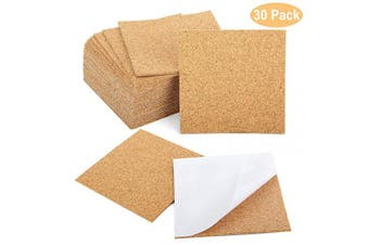 (30) - Blisstime 30 Pcs Self-Adhesive Cork Sheets 10cm x 10cm for DIY Coasters, Cork Board Squares, Cork Tiles, Cork Mat, Mini Wall Cork Board with Strong Adhesive-Backed