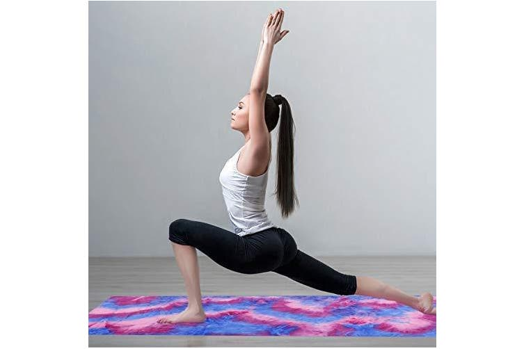 (Pink) - adorence Non Slip Yoga Towel (Upgraded PVC Grippies+Side Pockets) Microfiber Sweat Absorbent & Quick Dry Mat Towel - Ideal for Hot Yoga, Pilates and Workout