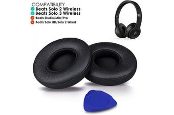 (Beats Solo2/3 Wireless, Solo-Black) - Professional Beats Solo Earpads Cushions Replacement by SoloWIT - Compatible with Beats Solo 2 & Solo 3 Wireless On-Ear Headphones with Soft Protein Leather/Strong Adhesive Tape