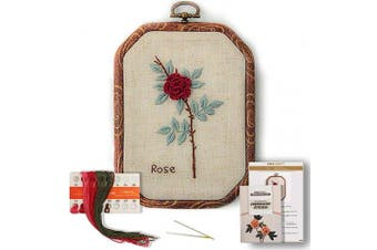(Rose) - Akacraft Chinese FlowersPick Series Embroidery Starter Kit, Canvas Cloth with Colour Pattern, Imitated Wood Rubber Embroidery Hoop, Colour Threads, and Needles (Rose)