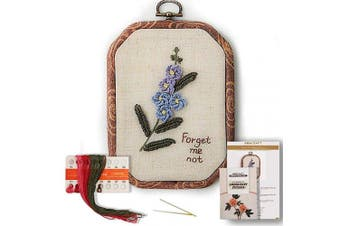 (Forget-me-not) - Akacraft Chinese FlowersPick Series Embroidery Starter Kit, Canvas Cloth with Colour Pattern, Imitated Wood Rubber Embroidery Hoop, Colour Threads, and Needles (Forget-me-not)