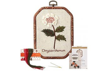 (Chrysanthemum) - Akacraft Chinese FlowersPick Series Embroidery Starter Kit, Canvas Cloth with Colour Pattern, Imitated Wood Rubber Embroidery Hoop, Colour Threads, and Needles (Chrysanthemum)