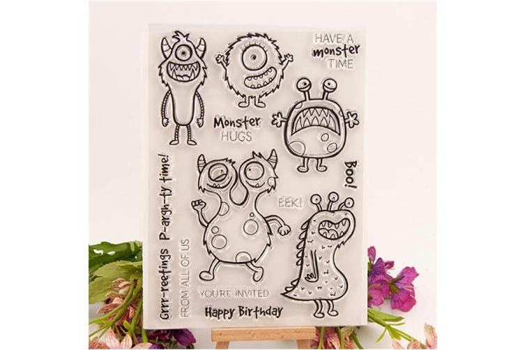 (T1593 Stamps and Dies Set) - Cute Happy Monsters Birthday Stamps and Die Set for Card Making Scrapbooking Party Time Clear Rubber Stamps and Dies (T1593)