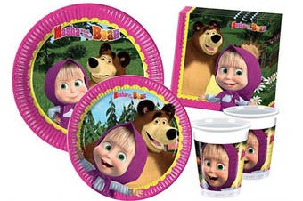 Ciao Y2522 Masha and the Bear party table kit for 8 people (44 items: 8 x large plates, 8 x medium plates, 8 cups, 20 napkins)