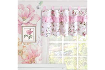 (Window Valance) - Brandream Window Valance Cotton Curtain for Baby/Toddler/Kid Bedroom Bath Laundry Living Room, Ruffled Floral Printed, Pink