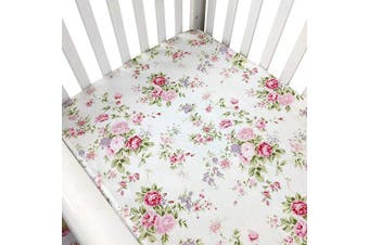 (One Sheet) - Brandream Crib Sheets Girl Fitted Crib Sheets Floral Portable Crib Mattress Topper for Baby Girls 100% Soft Breathable Cotton, Pink