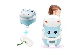 (Blue) - La fete Portable Baby Potty Toilet Chair with PU Children's Toilet Seat for Boys & Girls, Cute Cow Kids Training Stool, PVC Toddler Toilet Trainer with Handles & Brush 6 Months - 6 Years Old (Blue)