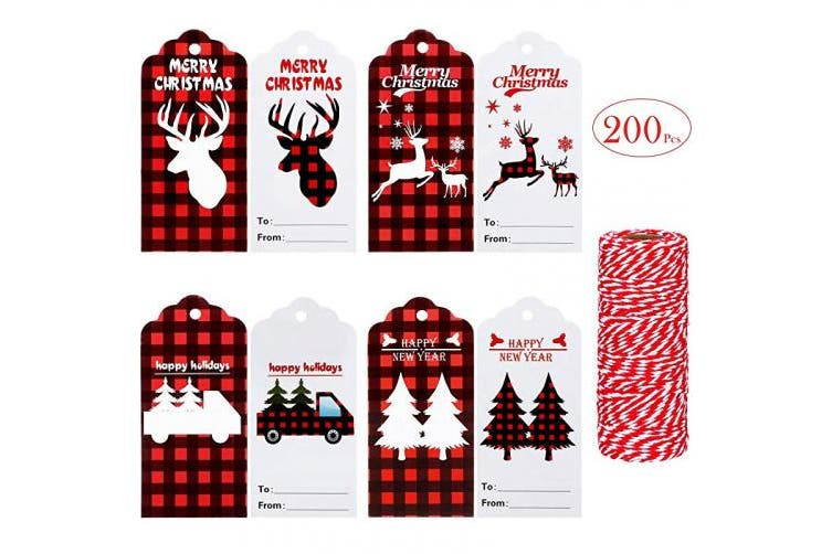 200 Pieces Christmas Gift Tags Craft Paper Tags Hang Labels With 50m Red And White Twines For Package Name Card Christmas Holiday Gift Wrap Party Favours 4 Styles Kogan Com