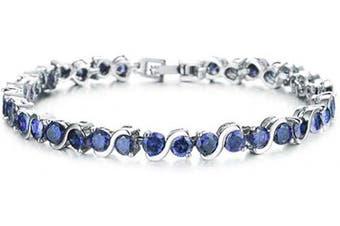 (Blue) - findout ladies Cubic Zircons crystal Fashion Wedding party luxury tennis Bracelets for women girls,(1714)