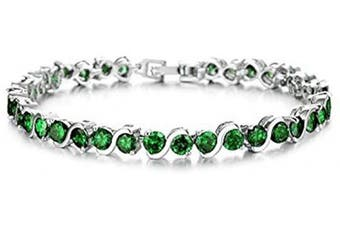 (Green) - findout ladies Cubic Zircons crystal Fashion Wedding party luxury tennis Bracelets for women girls,(1714)