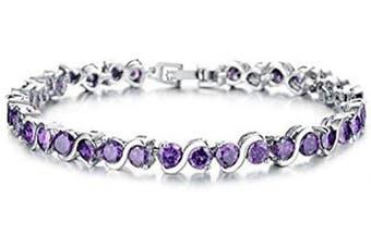 (Purple) - findout ladies Cubic Zircons crystal Fashion Wedding party luxury tennis Bracelets for women girls,(1714)