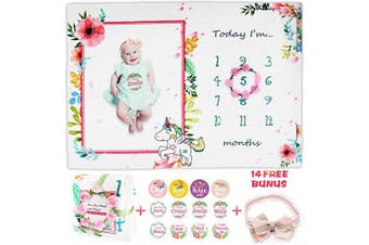 Viajero Baby Monthly Milestone Blanket, Soft Thickened XL 150cm x 100cm , Photography Background with Floral Wreath & Headband & 12 Milestone Stickers, Best Newborn Baby Shower Gifts for Boy or Girl