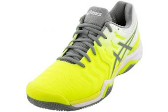 (4.5 UK, Safety Yellow/Stone Grey) - ASICS Women's Gel-Resolution 7 Clay Court Tennis Shoe