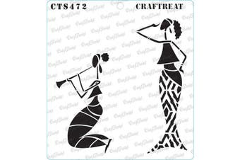 """(Enjoying Music 6""""X6"""") - CrafTreat Stencils for Painting on Wood, Canvas, Paper, Fabric, Floor, Wall and Tile - Enjoying Music - 15cm x 15cm - Reusable DIY Art and Craft Stencils - Woman Stencil Template for Painting on Wood"""