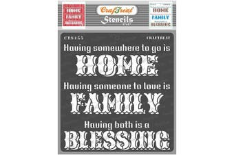 """(Family Blessing 6""""X6"""") - CrafTreat Family Stencils for Painting on Wood, Canvas, Paper, Fabric, Floor, Wall and Tile - Family Blessing - 15cm x 15cm - Reusable DIY Art and Craft Stencils - Home Family Blessing Stencil"""
