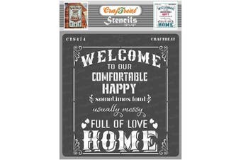 """(Welcome Home Stencil 12""""x12"""") - CrafTreat Quote Stencils for Painting on Wood, Canvas, Paper, Fabric, Floor, Wall and Tile - Welcome Home Stencil - 30cm x 30cm - Reusable DIY Art and Craft Stencils - Welcome to Our Home Stencil"""