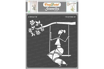 """(Sitting on a Swing 6""""x6"""") - CrafTreat Tribal Paint Stencils for Painting on Wood, Canvas, Paper, Fabric, Floor, Wall and Tile - Sitting on a Swing - 15cm x 15cm - Reusable DIY Art and Craft Stencils - Woman Stencil Template"""