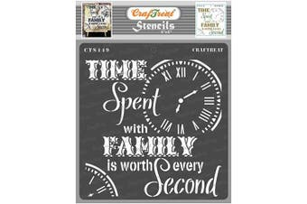 """(Family Time 6""""X6"""") - CrafTreat Quote Stencils for Painting on Wood, Canvas, Paper, Fabric, Floor, Wall and Tile - Family Time - 15cm x 15cm - Reusable DIY Art and Craft Stencils - Family Stencils for Painting on Wood"""