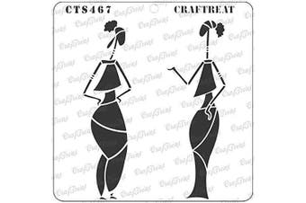 """(Chatting 6""""X6"""") - CrafTreat African Tribal Stencils for painting on Wood, Canvas, Paper, Fabric, Floor, Wall and Tile - Chatting - 15cm x 15cm - Reusable DIY Art and Craft Stencils - Woman stencil templates for painting"""