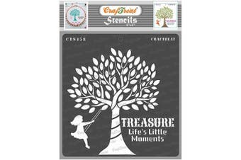 """(Life's Little Moments 6""""X6"""") - CrafTreat Tree Stencils for Painting on Wood, Canvas, Paper, Floor, Wall and Tile - Life's Little Moments - 15cm x 15cm - Reusable DIY Art and Craft Stencils - Treasure Life's Little Moments Stencil"""