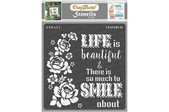 """(Smile now 6""""X6"""") - CrafTreat Quote Stencils for Painting on Wood, Canvas, Paper, Fabric, Floor, Wall and Tile - Smile Now - 15cm x 15cm - Reusable DIY Art and Craft Stencils - Life is Beautiful Stencil"""