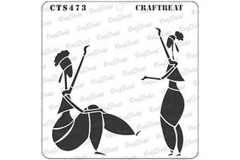 """(Holding Clock 6""""X6"""") - CrafTreat Stencils for Painting on Wood, Canvas, Paper, Fabric, Floor, Wall and Tile - Holding Clock - 15cm x 15cm - Reusable DIY Art and Craft Stencils - Woman Stencil Template for Painting on Wood"""