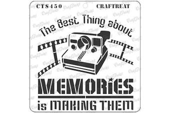 """(Making Memories 6""""X6"""") - CrafTreat Quote Stencils for Painting on Wood, Canvas, Paper, Fabric, Floor, Wall and Tile - Making Memories - 15cm x 15cm - Reusable DIY Art and Craft Stencils - Camera Stencil"""