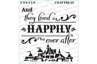 """(Happily Ever After 6""""X6"""") - CrafTreat Happily Ever After Stencils for Painting on Wood, Canvas, Paper, Fabric, Floor, Wall and Tile - Happily Ever After Stencil - 15cm x 15cm - Reusable DIY Art and Craft Stencils"""