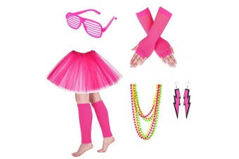 (Pink) - Women's 80s Fancy Dress Accessories Dress Glasses Neon Earrings Fingerless Fishnet Gloves Necklace Legwarmer for Fashion Retro 80s Party Outfit Costume Set Ladies and Girls (Pink)