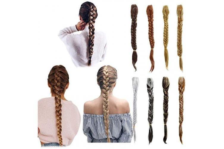 (Dark Brown Mix Ash Blonde) - Qunlinta 50cm Braid Hair Extensions Fishtail Ponytail Extension Synthetic Clip in Drawstring Hairpiece Dark Brown Mix Ash Blonde