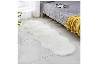 (White, 60 x 160 cm) - JXLOULAN Faux Fur Sheepskin Rug Faux Fleece Fluffy Area Rugs Anti-Skid Carpet for Living Room Bedroom Sofa Nursery Rugs (White, 60 x 160 cm)