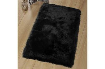 (60 X 90, Black-rectangle-1) - LOCHAS Super Soft Fluffy Faux Sheepskin Fur Area Rug, Living Room Bedroom Floor Shaggy Silky Plush Carpet White Faux Fur Rug Bedside Rugs 60 X 90cm