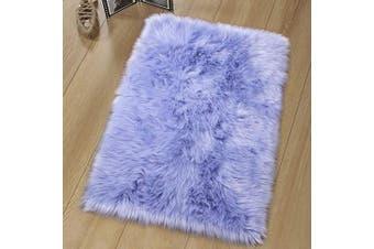 (60 X 90, Purple-rectangle-1) - LOCHAS Super Soft Fluffy Faux Sheepskin Fur Area Rug, Living Room Bedroom Floor Shaggy Silky Plush Carpet White Faux Fur Rug Bedside Rugs 60 X 90cm