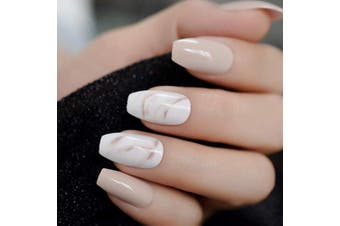 (L5166) - CoolNail 24Pcs Ballerina Fake Nails Khaki Nude Marble Coffin Flat Artificial False Nail Tips for Office Home Faux Ongle Free Glue Sticker