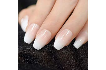 (Z982) - CoolNail Pink Nude White Ombre French Ballerina Coffin False Nails Gradient Natural Manicure Press on Fake Nails Tips Daily Office Finger Wear