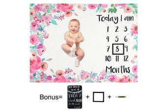 Play Tailor Baby Monthly Milestone Blanket Pink Floral 100cm x 130cm Ultra Soft Fleece Newborn Baby Shower Photography Background, Include Frame Blackboard Marker