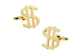 Ashton and Finch Gold Plated Dollar Cufflinks in a Free Presentation Box. Novelty America Money Currency Theme Jewellery