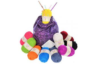 Mira Handcrafts Large Yarn Skeins with Rope Carry Bag and Crochet Accessories- 50ml (50 Grammes) Each Bonbon – Ideal for Knitting and Yarn Crafts [Special Edition]