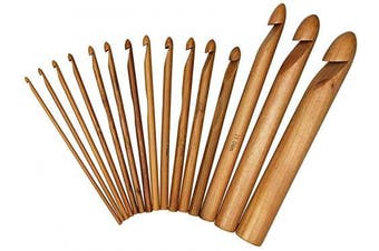 15PCS 3-25mm Mixed Size Wooden Bamboo Hand Crochet Hooks Set Kit Craft Knitting Needle Weaving Tool for Beginner and Professional